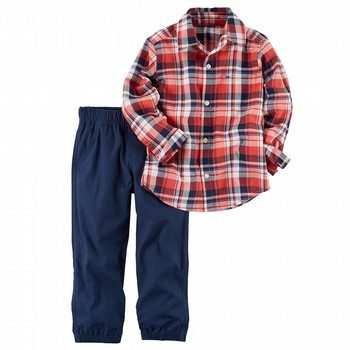 Carter's 2PC Plaid Shirt & Poplin Jogger Set