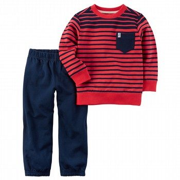 Carter's 2PC Striped Pullover & Canvas Pant Set