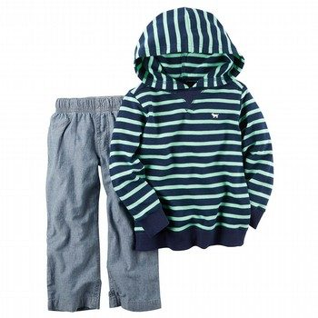 Carter's 2PC French Terry Hoodie & Chambray Pant Set