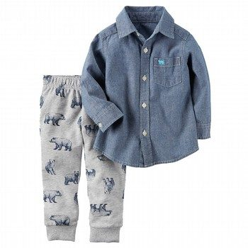 Carter's 2PC Button-Front Shirt & French Terry Jogger Set