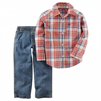 Carter's 2PC Plaid Button-Front & Denim Pant Set