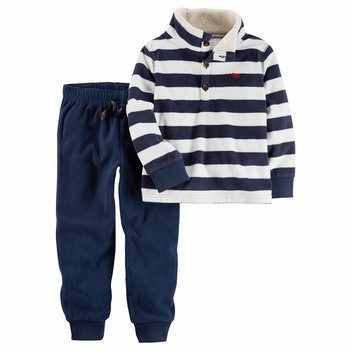 Carter's 2PC Striped Henley Top & Pant Set