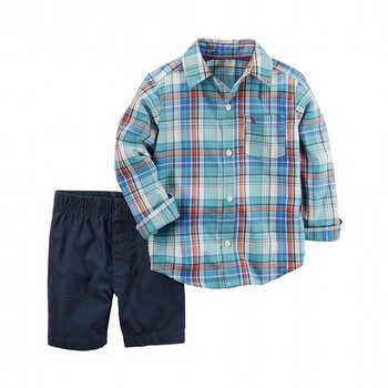 Carter's 2PC Plaid Button-Front & Canvas Short Set