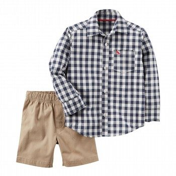 Carter's 2PC L/S Checkered Button-Front & Canvas Short Set