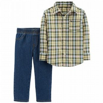 Carter's 2PC Button-Front Top & Denim Pant Set