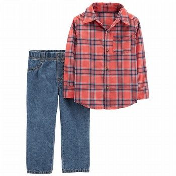 Carter's 2-Piece Button-Front Flannel & Pull-On Jean Set