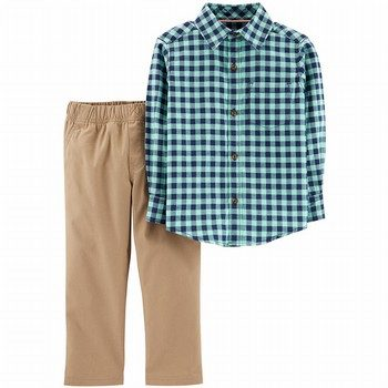 Carter's 2-Piece Flannel Button-Front & Khaki Pant Set