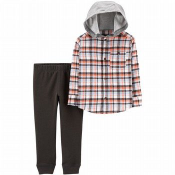 Carter's 2-Piece Hooded Button-Front Flannel & Jogger Set