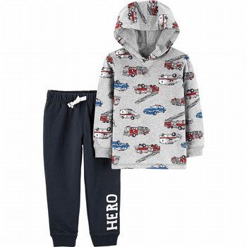 Carter's 2PC Hero Vehicle Hoodie & French Terry Jogger Set