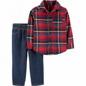 Carter's 2PC Plaid Button-Front Top & Denim Pant Set