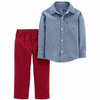 Cater's 2PC Chambray Button-Front & Canvas Pant Set