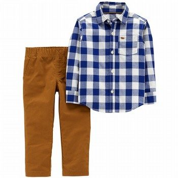 Cater's 2PC Gingham Button-Front & Canvas Pant Set