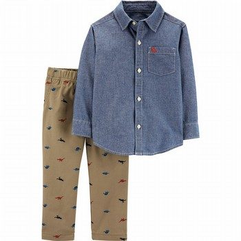 Carter's 2PC Chambray Button-Front & Schiffli Pant Set