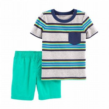 Carter's 2PC Striped Tee & Poplin Short Set