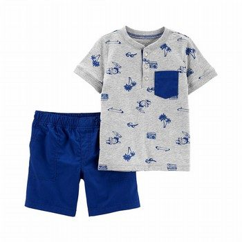 Carter's 2PC Beach Henley & Poplin Short Set