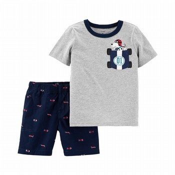 Carter's 2PC Race Car Dog Tee & Poplin Short Set