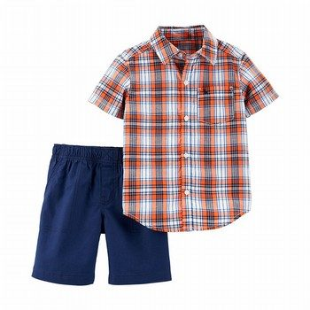 Carter's 2PC Button-Front Top & Canvas Short Set