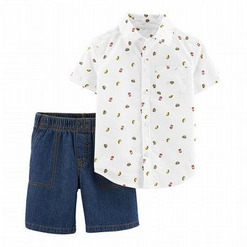 Carter's 2PC Button-Front & Canvas Short Set