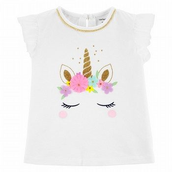 Carter's Unicorn Tulle-Sleeve Top