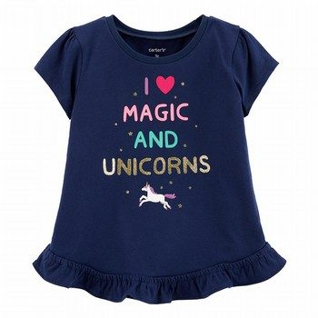 Carter's Glitter Unicorn Peplum Top
