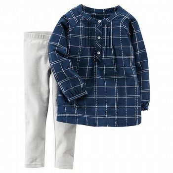 Carter's 2PC Metallic Plaid Top & Sparkle Legging Set