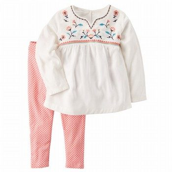 Carter's 2PC Embroidered Top & Printed Pant Set
