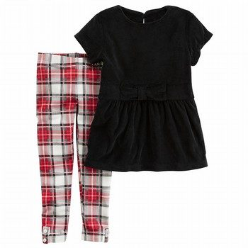 Carter's 2PC Velour Top & Plaid Legging Set