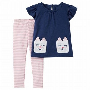 Carter's 2PC Flutter Top & Striped Legging Set
