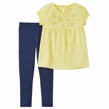 Carter's 2PC Floral Top & Polka Dot Legging Set