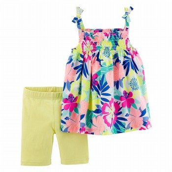 Carter's 2PC Floral Tie Shoulder Tank & Tumbling Short Set