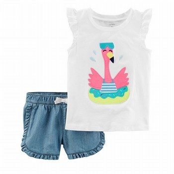 Carter's 2PC Flamingo Flutter-Sleeve Top & Denim Short Set