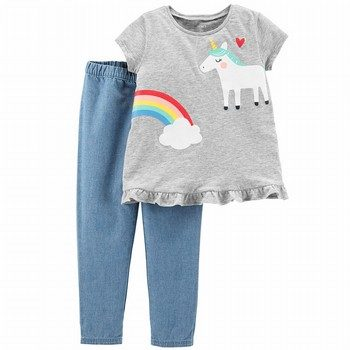 Carter's 2PC Unicorn Top & Chambray Pant Set
