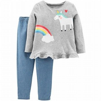 Carter's 2PC Unicorn Top & Chambray Legging Set