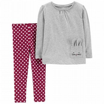 Carter's 2PC Jersey Top & Polka Dot Legging Set