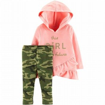 Carter's 2PC Hooded Ruffle Top & Legging Set