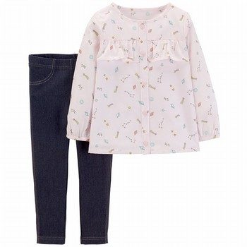 Carter's 2-Piece Space Button-Front & Jegging Set