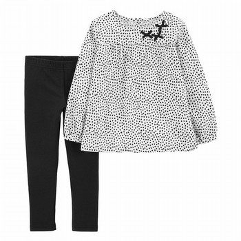 Carter's 2PC Polka Dot Flannel Top & Legging Set