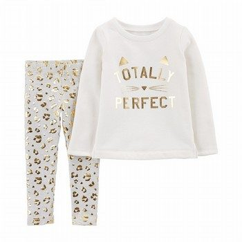 Carter's 2PC Cat Fleece Top & Cheetah Legging Set