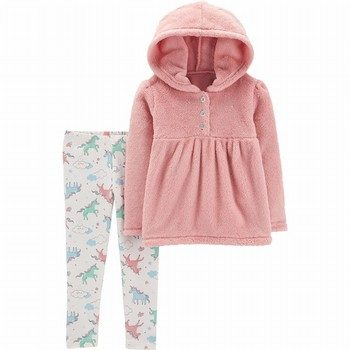 Carter's 2PC Fuzzy Hoodie & Unicorn Legging Set
