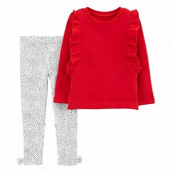 Carter's 2PC Ruffle Fleece Top & Bow Legging Set