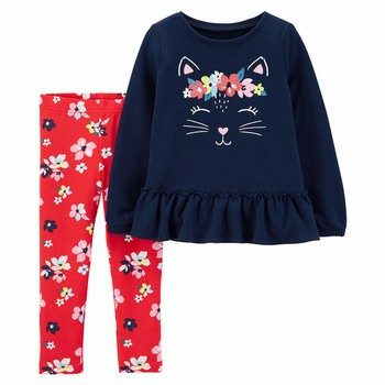 Carter's 2PC Kitty French Terry Top & Floral Legging Set