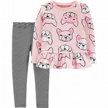 Carter's 2PC French Bulldog Ruffle Top & Striped Legging Set