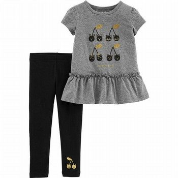 Carter's 2PC Cherry Peplum Top & Legging Set