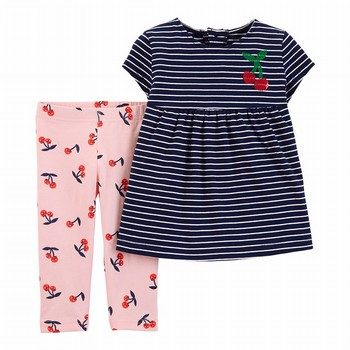 Carter's 2PC Striped Jersey Top & Cherry Capri Legging Set