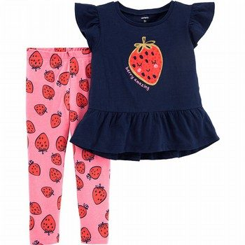 Carter's 2PC Glitter Strawberry Top & Legging Set