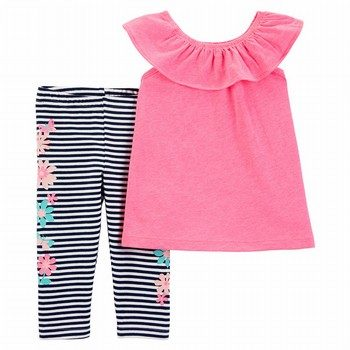 Carter's 2PC Flutter Scoop Neck Top & Capri Legging Set