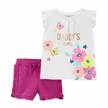 Carter's 2PC Daddy's Girl Floral Top & Ruffle Short Set