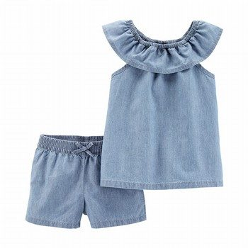 Carter's 2PC Scoop Neck Chambray Top & Short Set