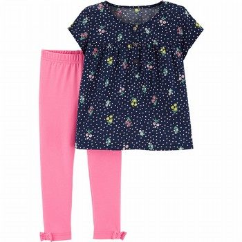 Carter's 2PC Floral Sateen Top & Legging Set