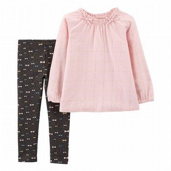 Carter's 2PC Flannel Top & Bow Legging Set